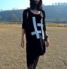 Get this look: http://lb.nu/look/8576873  More looks by Dea Valkyr: http://lb.nu/electrogoth  Items in this look:  Asos Crosses Dress   #casual #gothic #minimal #inverted #cross #nature #goth #black #dark
