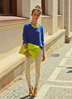 Shop this look on Kaleidoscope (pants, sweater, clutch, necklace, sandals) http://kalei.do/Wx3faq5M6nEZ9eT4