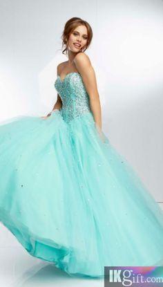 Gorgeous aqua blue, strapless, sweetheart neckline prom dress.