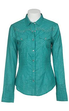 Pink Cattlelac® Ladies Turquoise w/ Crystals & Studs Long Sleeve Western Shirt | Cavender's Boot City