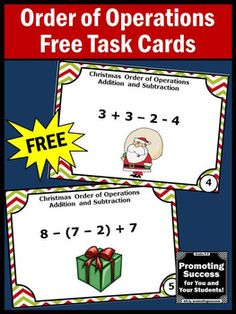 FREE Christmas Math Order Of Operations Task Cards Games and Activities 5th Grade