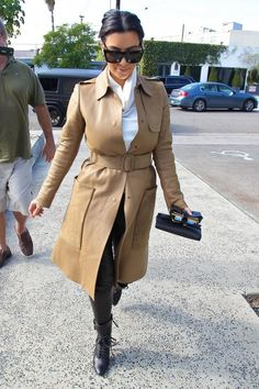 Kim Kardashian Leather Coat