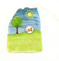 Handpainted Fox Button Gift Bag  SMALL Muslin by buttonsbyrobin
