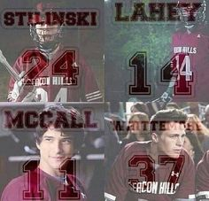 Teen Wolf - Beacon Hills Lacrosse - Last names and Jersey #'s... Stiles Stilinski, Isaac Lahey, Scott McCall, and Jackson Whittemore...