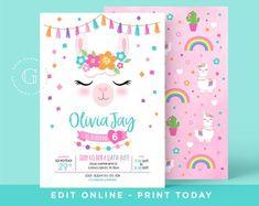 Editable Llama Birthday, Unicorn Birthday, Unicorn Party, 30th Birthday Parties, Birthday Party Invitations, Birthday Party Themes, 4th Birthday, Birthday Ideas, Birthday Cards