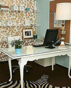 Chic home office, Gold wallpaper, White wood desk, Retro walls, Laptop desk, Writing desk.