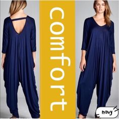 "HP 10/21, 12/11COMFY & EXTRA CUTE JUMPSUIT NOW IN FIVE COLORS - TEAL, CRANBERRY, BLACK, CHARCOAL & NAVY! Love the roominess & overall design of this piece. Plenty of space to feel comfortable - great lines to flatter. Heels, booties or flats all work. Dolman sleeves. 95% rayon/5% spandex. Fits many sizes. I added it to my plus closet because it definitely fits all sizes. Cute back cross strap. ♦️S: bust about 44""♦️M: bust about 47""♦️L: bust about 50"". PLEASE DO NOT BUY THIS LISTING, I will…"