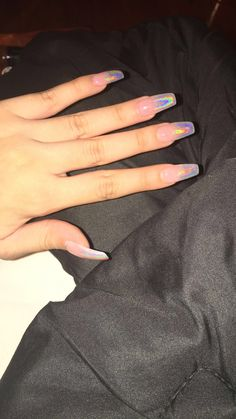 Holographic Ombre Coffin Shape nails