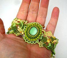 Beadwork bracelet Seed beads bracelet cuff Beaded jewelry by ibics, $79.00