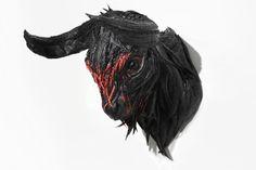 Buffalo sculpture from tire by Yong Ho Ji