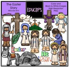 This set contains all of the images shown: pictures connected with the Easter Story. The set includes crosses, angel, Pontius Pilate, palm leaf, Mary Magdalene, Jesus, disciple, tomb, donkey, dove, crown of thorns and word art signs.36 images (18 in color and the same 18 in B&W)Images saved at 300dpi in PNG files.For personal or commercial use.Download preview for TOU.This is a zip file. $6.00