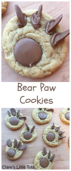 Bear paw cookies, fun treat to bake with kids to accompany the book Time to Sleep, Brown Bear Brown Bear or We're Going on a Bear Hunt. Easy recipe toddlers and preschoolers can bake. Cooking with Kids Bear Paw Cookies Recipe, Fun Cookies, Bear Cookies, Kiss Cookies, Baking Cookies, Comida Diy, Picnic Birthday, Birthday Parties, Birthday Book