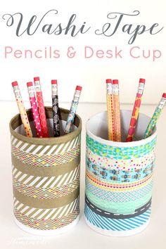 Washi tape pencils and desk cup organizer - diy for teens Washi Tape Crafts, Washi Tapes, Desk Organization Diy, Diy Desk, Diy Crafts For Teen Girls, Diy For Teens, Easy Crafts, Diy And Crafts, Makeup Organization