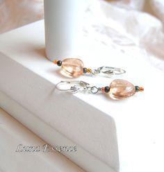 Nude Pink Glass Heart Pyrite Earrings by LunaEssence on Etsy, $29.00 #onfireteam #lacwe #jewelry