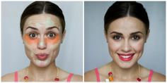 To mask different imperfections, try color correcting: green will neutralize any inflammations; peach and pink colors will brighten up dull skin; yellow will mask vascular spots or small scars; orange will help to mask dark circles under your eyes. Daily Beauty Tips, Beauty Tips In Hindi, Beauty Hacks, Makeup Tips In Hindi, Infected Ingrown Hair, Stars D'hollywood, Korean Makeup Tips, Dull Skin, Makeup For Beginners