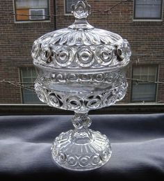 "EAPG ""ROYAL"" aka ""SUNKEN BULLSEYE"" Covered Compote, made by Co-operative Flint Glass Works, circa 1890's, 10.5""H x 6""D (base 4""D) 10/25/2014"