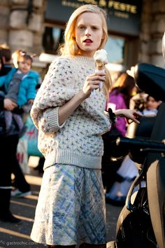 Hanne Gaby Odiele Eats an Ice Cream Cone