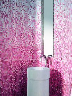 Contemporary Pink Bathroom Fixtures, Furniture & Tile by Bisazza. Mosaic Bathroom, Bathroom Tile Designs, Bathroom Trends, Glass Bathroom, Glass Mosaic Tiles, Bathroom Interior Design, Bathroom Fixtures, Interior Modern, Mosaic Wall