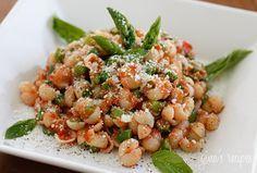 Baby Pasta Shells with Asparagus and Marinara Sauce