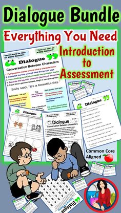 Writing dialogue, everything you need from Introductory PowerPoint to Assessment. This bundle also includes a center/station activity, a game, worksheets, anchor chart, and an interactive workbook page.