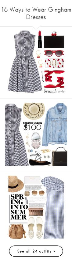 """""""16 Ways to Wear Gingham Dresses"""" by polyvore-editorial ❤ liked on Polyvore featuring Izabel London, Cutler and Gross, Edie Parker, Smashbox, Sonix, Gorjana, MANGO, Givenchy, Gianvito Rossi and Betsey Johnson"""