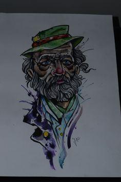 Old man tattoo draw drawing watercolour watercelor draw tatuagem desenho