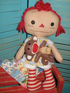 Primitive Raggedy Doll,  Sock Monkey and Vintage Doll Quilt Use 20% Coupon