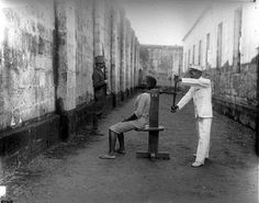 """Execution chamber and garrotes, Intramuros. """" This machine has an official record of killing 31 men."""" 15"""