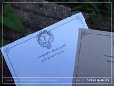 Outlander printable: Download free printable inspired by Outlander. Personal stationery template with monogram