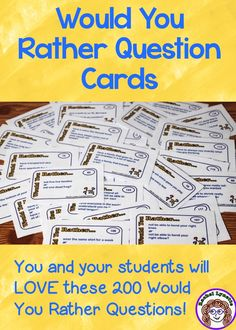 Kids love Would You Rather Questions and they are great for discussion prompts, journals, or any time you have a few spare minutes. There are 200 kid-friendly questions in this pack!
