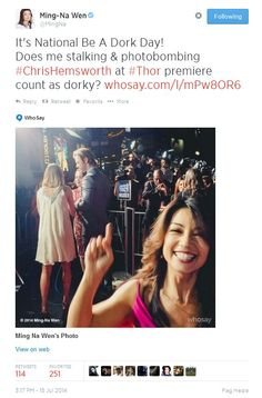 National Be A Dork Day || Ming-Na Wen || Twitter || 563px × 855px || #cast