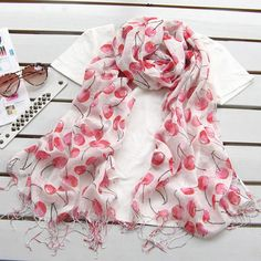 Discount China Wholesale fashion pastoral linen scarf shawls red cherry