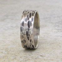 Birch Bark Silver Rustic Ring by SilverSmack
