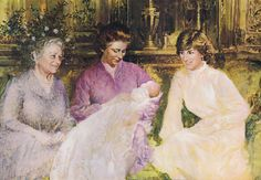 A beautiful portrait of Diana with the Queen and Queen Mother at William's christening