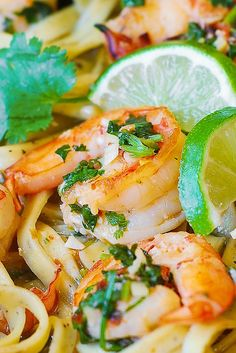 Cilantro-Lime Shrimp going to sub the noodles for spaghetti squash for a healthier meal.