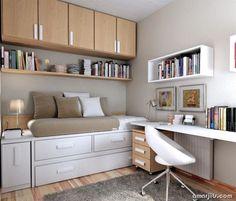 Una habitación práctica, comoda y hermosa. Otra forma de acomodar tus libros y concentrarte en un escritorio de #HogarMadera