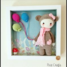 Handmade Crochet Plush Amigurumi Lalylala Bina Bear in Box Frame Picture. Ideal for baby nursery. 10 inches square. Great gift idea