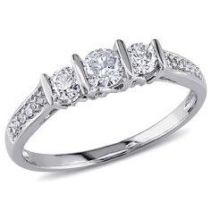 Miadora 10k White Gold 1/2ct TDW Diamond 3-stone Engagement Ring (G-H, I2-I3) (Size 9.5), Women's