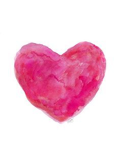 Hot Pink Heart Watercolor 8x10 Art Print Hot by OutsideInArtStudio, $18.00