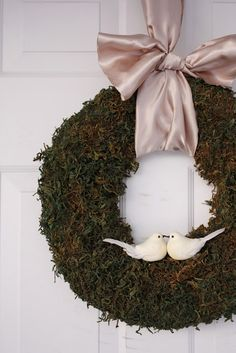 delia creates: Moss Christmas Wreath use plumbers tubing. Cheap! cover it with boxwood/moss and use for each tall mirror. LOVE.