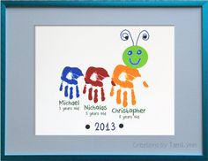 Items similar to Caterpillar Child Handprint Art for handprints - Baby Nursery Art - Personalized Child's Room on Etsy Family Crafts, Baby Crafts, Cute Crafts, Baby Nursery Art, Baby Art, Craft Activities, Preschool Crafts, Projects For Kids, Crafts For Kids
