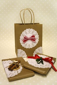 Doily Christmas Wrapping tutorial from Country Baskets