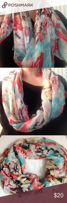 Pink floral and blue 6 foot long scarf / shawl Lovely and soft 6 foot shawl / scarf. With pink flowers and light blue background, is light enough for a quick fashion addition or long enough for a cover up. Will make a lovely addition to any collection. Accessories Scarves & Wraps