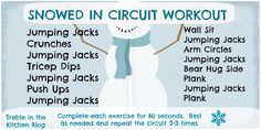 At home total body circuit workout.  Perfect for a snowy day when you want to workout but don
