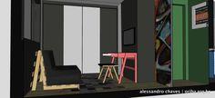 Apto São Paulo | Filho 1. Sofá cama + Mesa e banco + Faixa preta nas paredes e teto!