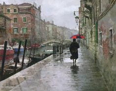 "Fine Art Connoisseur - Xiao Jiang OPAM, ""Rain Day,"" oil, 22 x 28 in."