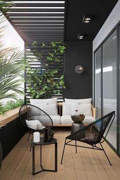 Small Balcony Design, Small Balcony Decor, Terrace Design, Modern Balcony, Small Terrace, Modern Pergola, Patio Balcony Ideas, Apartment Balcony Garden, Bedroom Balcony