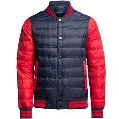Tommy Hilfiger Baseball Down Bomber Jacket ($225) ❤ liked on Polyvore featuring men's fashion, men's clothing, men's outerwear, men's jackets, sale men coats and jackets, mens quilted jacket, mens quilted nylon jacket, mens nylon bomber jacket and mens blouson jacket