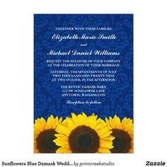 Sunflowers Blue Damask Wedding Card