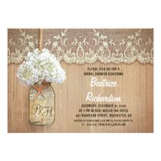 rustic mason jar white hydrangea bridal shower invite - Cute rustic bridal shower invitation featuring mason jar with white hydrangea blossom. Perfect invite for country bridal shower with vintage lace and distressed wood accents.